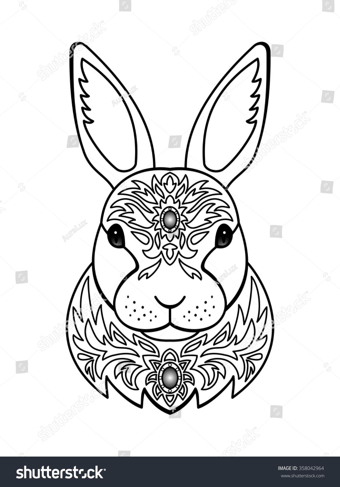 Ornamental White Rabbit Vector Illustration Of Abstract Animal For