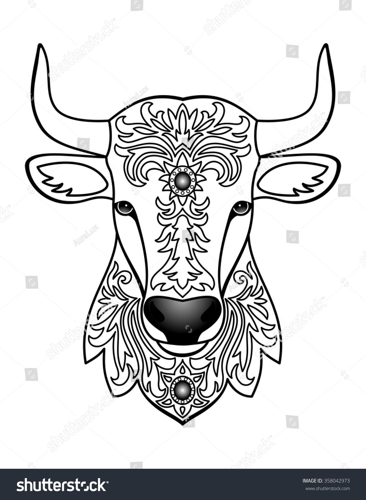 Ornamental White Bull Vector Illustration Abstract Stock