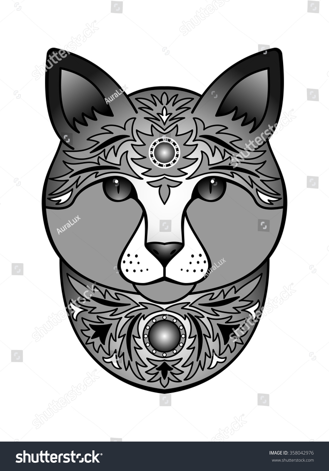 Ornamental Black Cat Vector Illustration Abstract Stock Vector