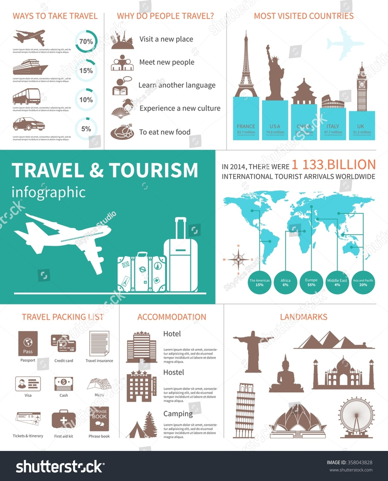 travel world tourism infographic template map stock vector 358043828 shutterstock. Black Bedroom Furniture Sets. Home Design Ideas