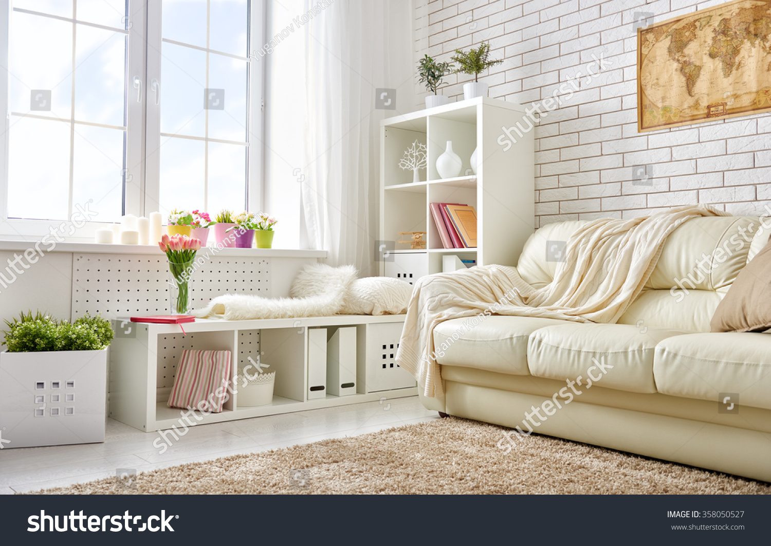 Living Room Bright Colors Modern Living Room In Bright Colors Stock Photo 358050527