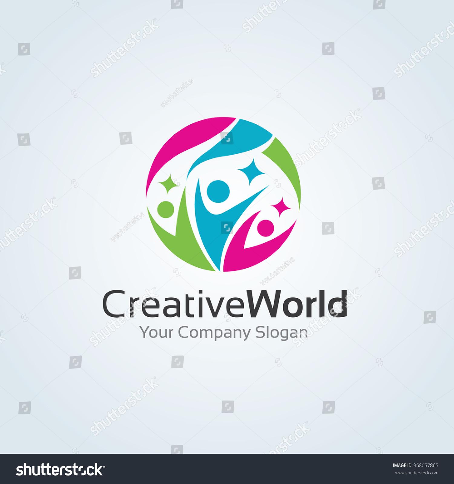 Creative World logo,family logo,world logo,people logo,vector logo ...