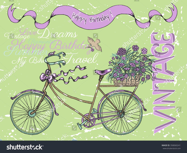 Vintage Happy Birthday Card Retro Bike Vector 358060241 – Vintage Happy Birthday Cards