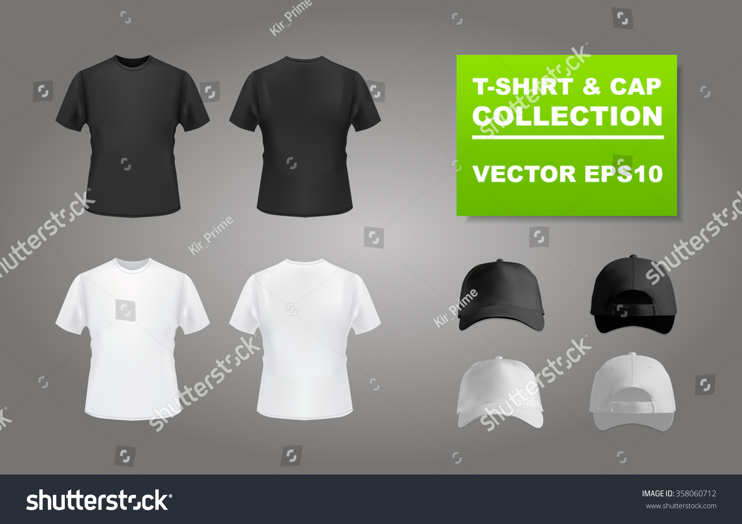 White t shirt eps - Black And White T Shirt And Baseball Cap Set Front And Back View