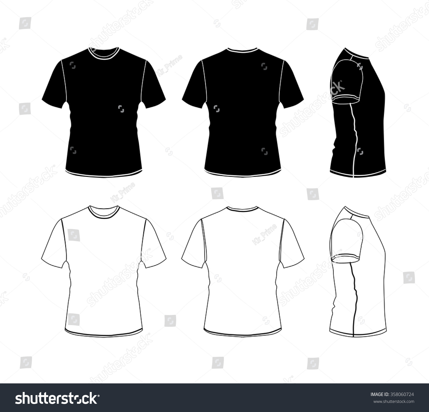 Black t shirt vector front and back - T Shirt Outline Icon Collection Vector Eps10 Silhouette Illustration Isolated On White Background Front Back And Side Views Stock Vector