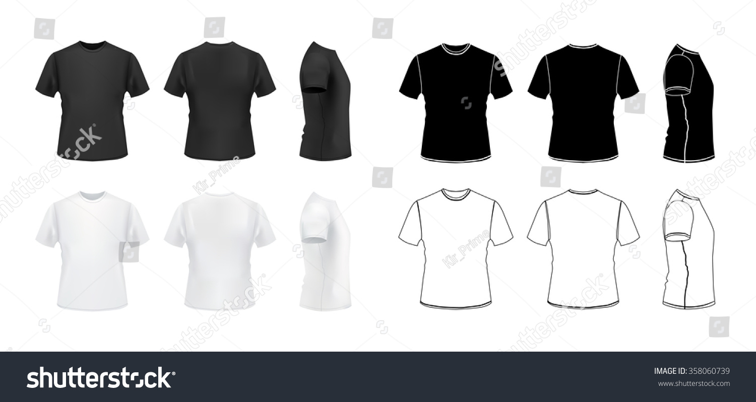 tshirt mockup set 3 d realistic outline stock vector royalty free