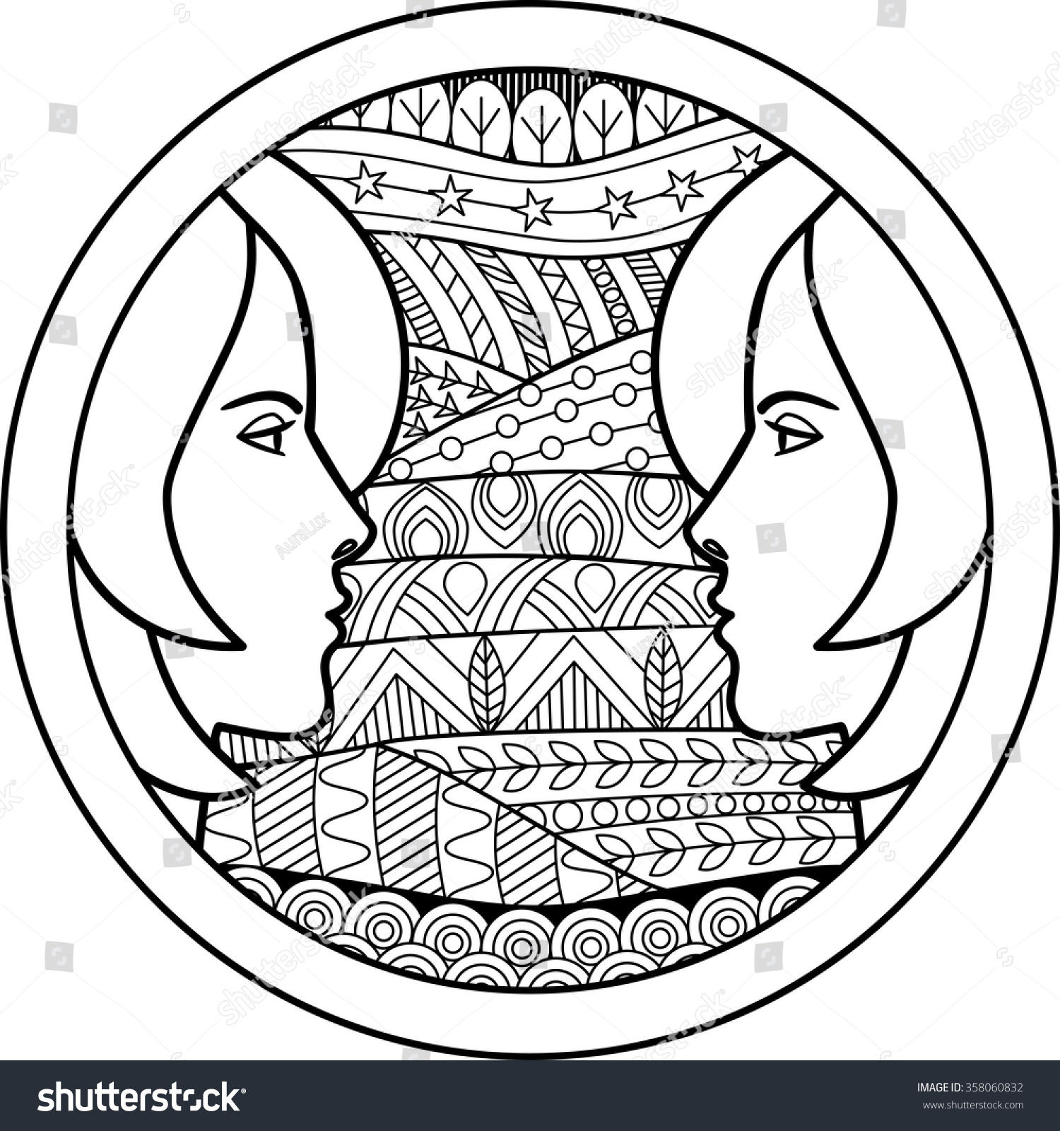 Zodiac sign gemini vector illustration abstract stock for Gemini coloring pages