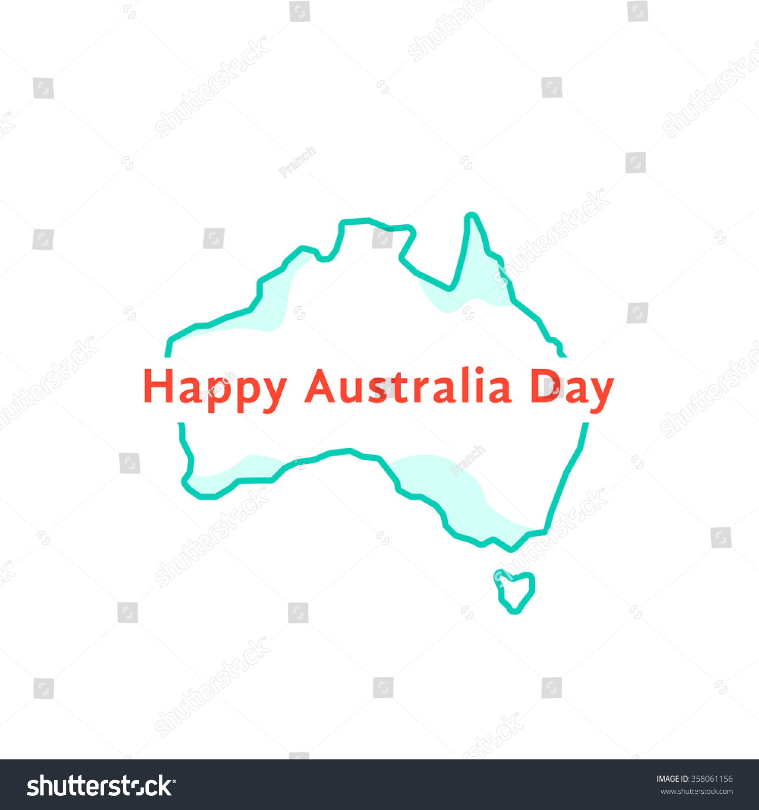 Map Of Australia 26th Parallel.Happy Australia Day Green Continent Concept Stock Vector Royalty
