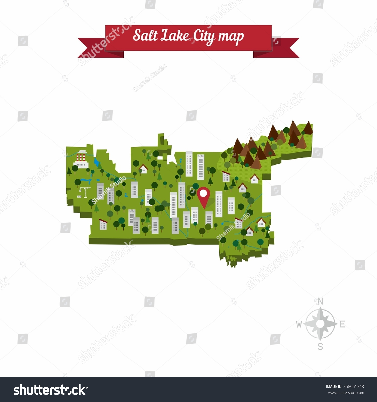 Salt Lake City On Us Map.Salt Lake City Utah Usa Map Stock Vector Royalty Free 358061348