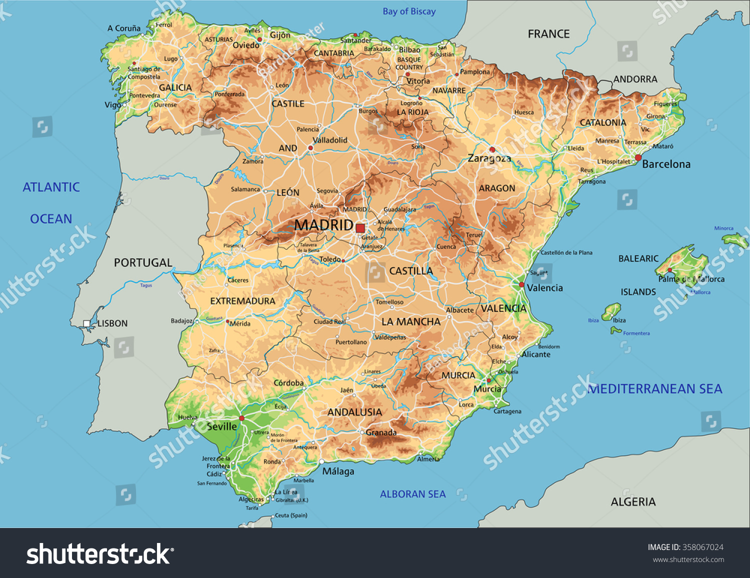 Labeled Map Of Spain.High Detailed Spain Physical Map Labeling Stock Vector Royalty Free