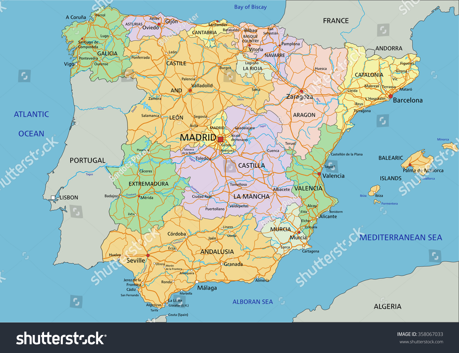 Map Of Spain Labeled.Spain Highly Detailed Editable Political Map Stock Vector