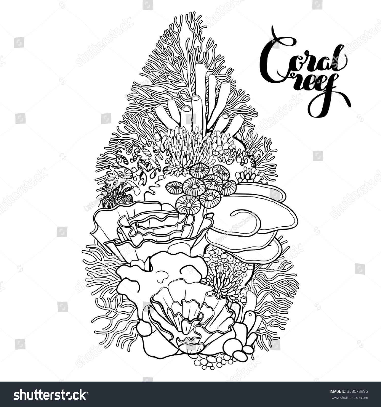 Coral Reef Line Art Style Ocean Stock Vector (Royalty Free ...
