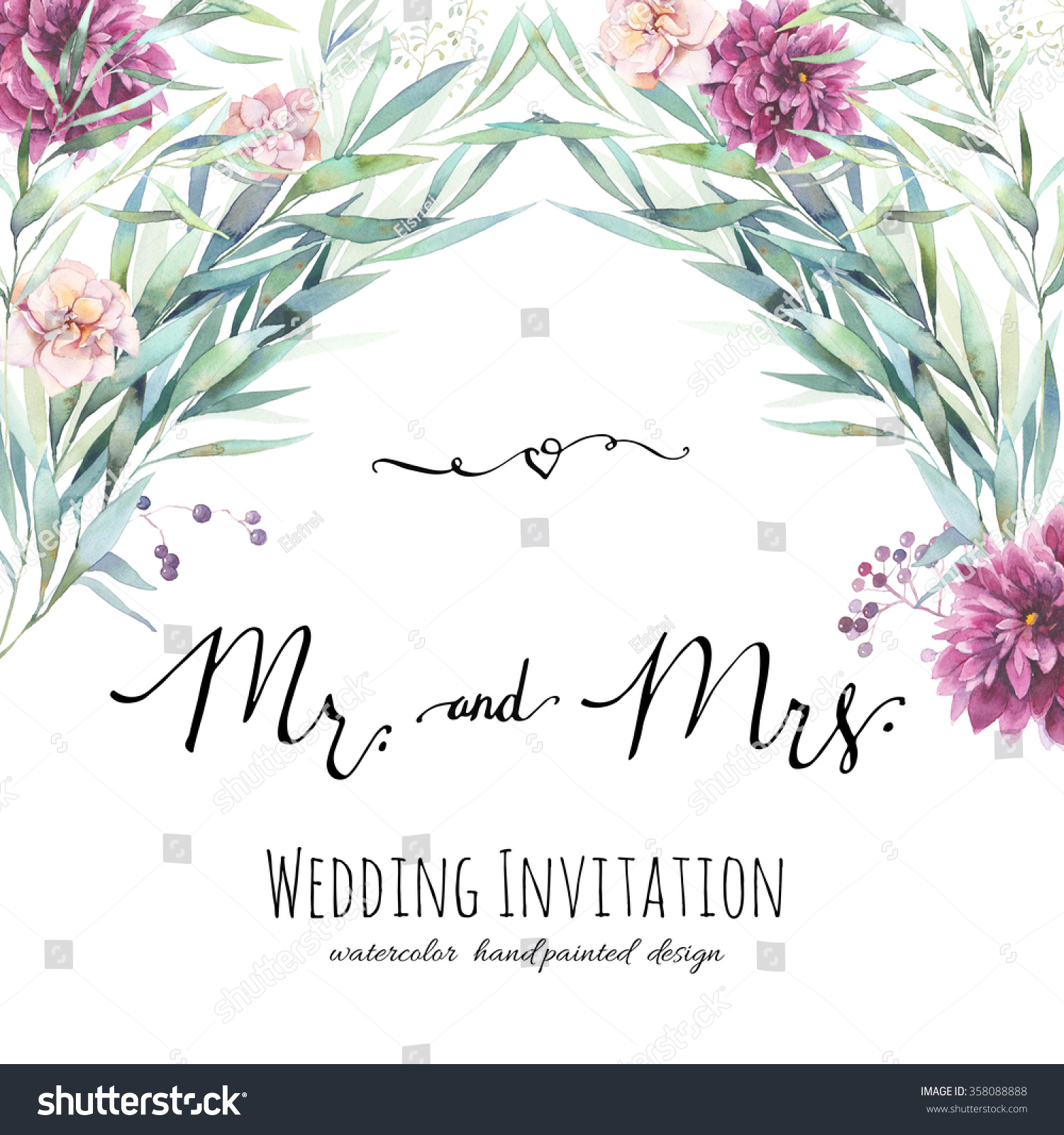 Watercolor Wedding Invitation Modern Calligraphy Words
