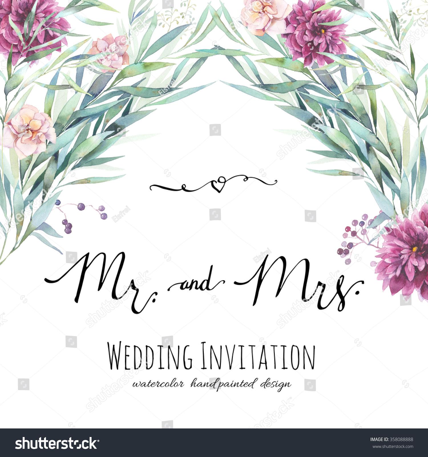 Watercolor wedding invitation modern calligraphy words