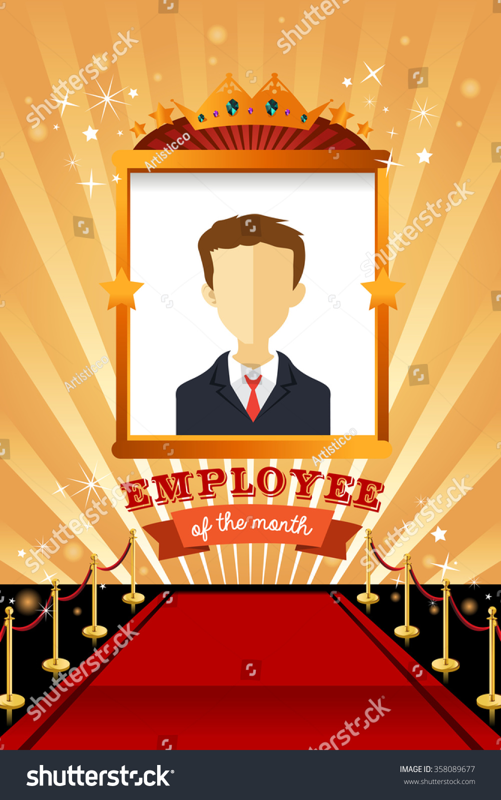 Vector Illustration Employee Month Poster Frame Stock