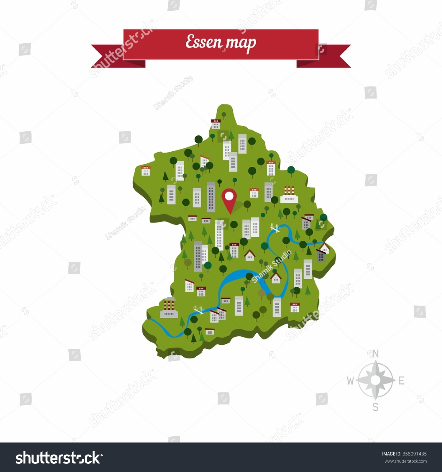Essen Germany Map Flat Style Design Stock Vector Royalty Free