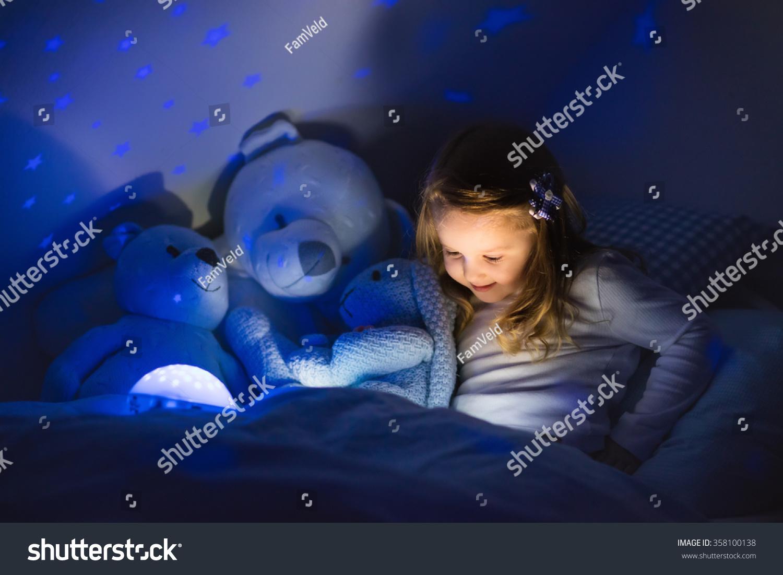 Night Stars Bedroom Lamp Little Girl Reading Book Bed Dark Stock Photo 358100138 Shutterstock