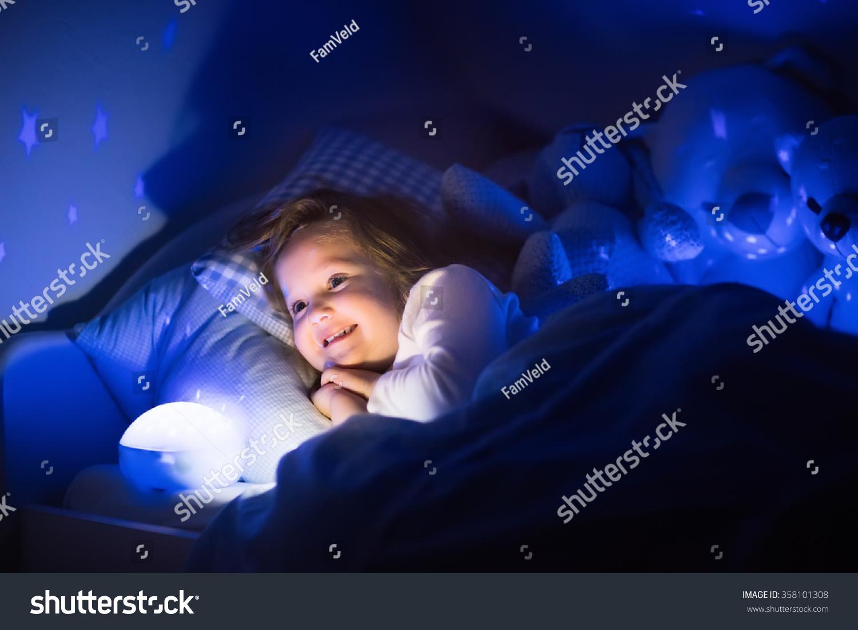 Night Stars Bedroom Lamp Little Girl Reading Book Bed Dark Stock Photo 358101308 Shutterstock
