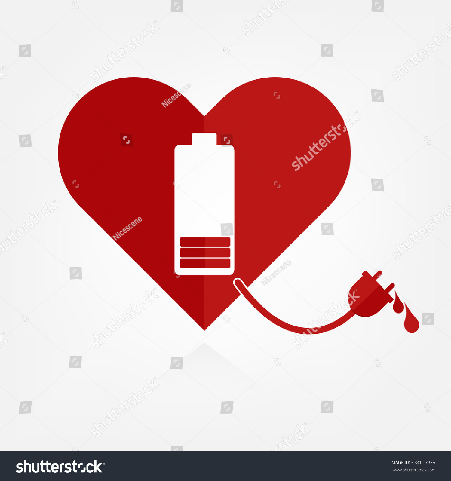 Flat Design Red Hearts With Low Battery Charger Sign And Power Line With  Bloods. Valentine