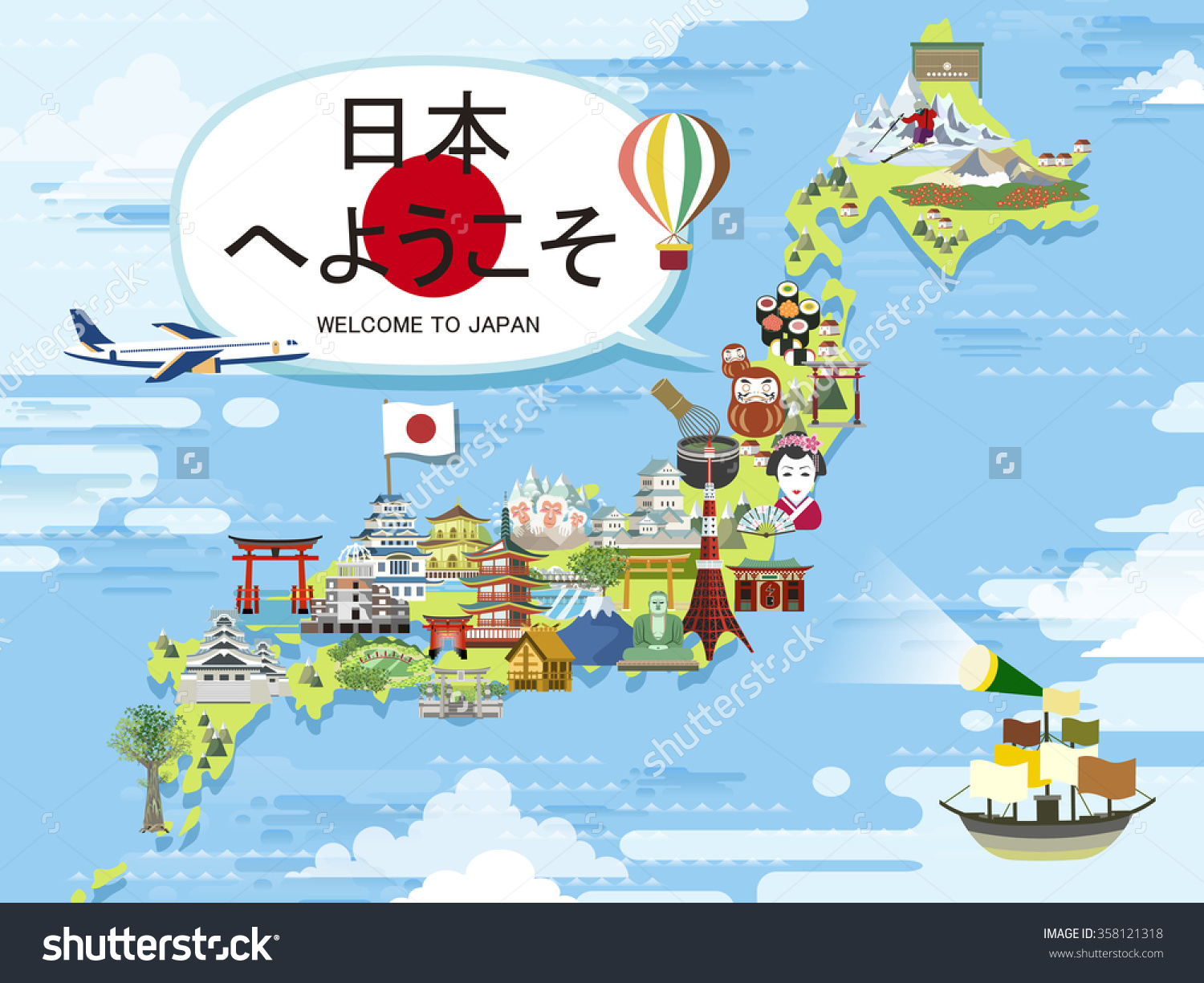 Attractive Japan Travel Map Design Welcome Illustration – Tourist Map Of Japan English