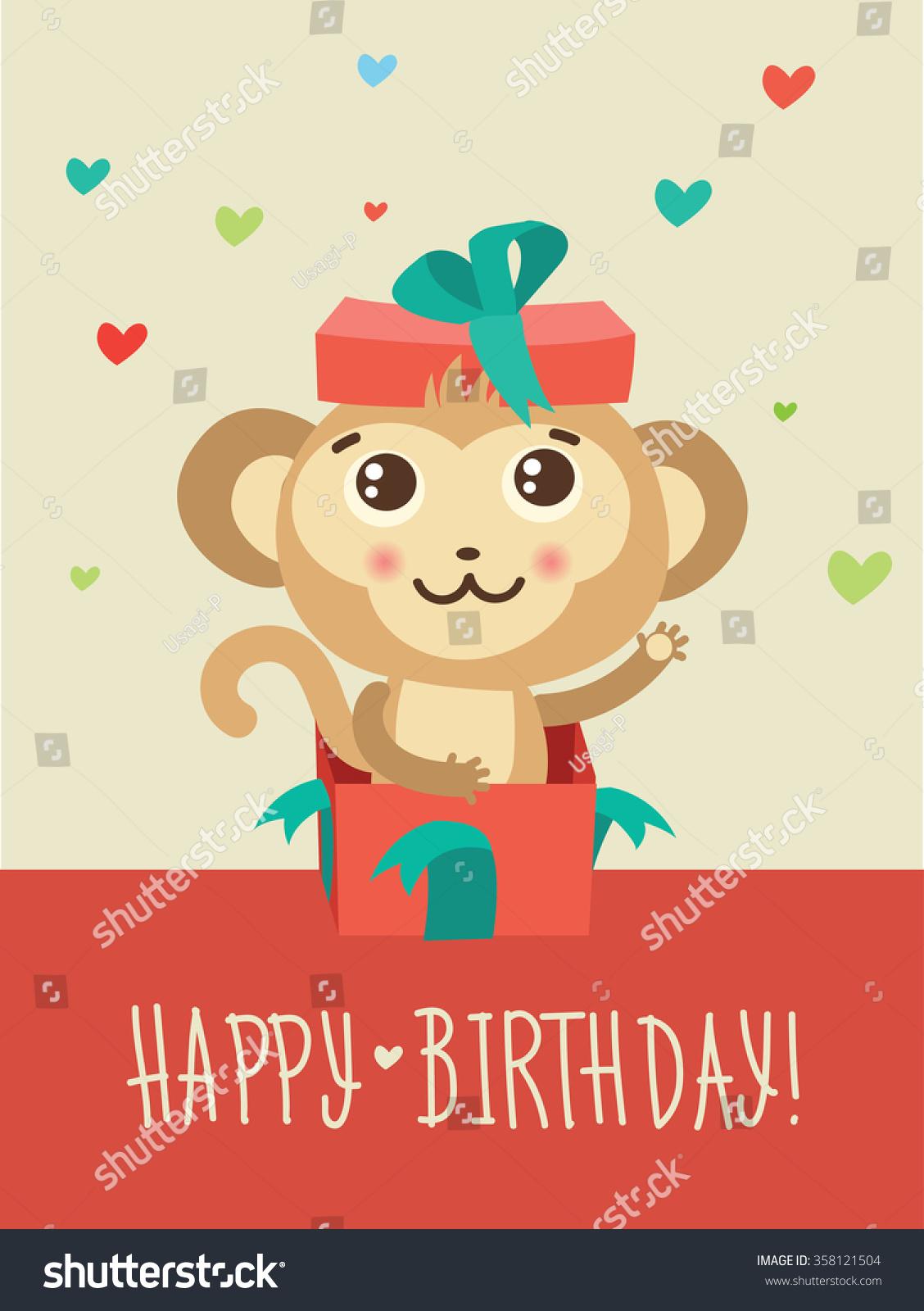 Happy Birthday Card Funny Monkey Surprise Vector 358121504 – Birthday Card Monkey