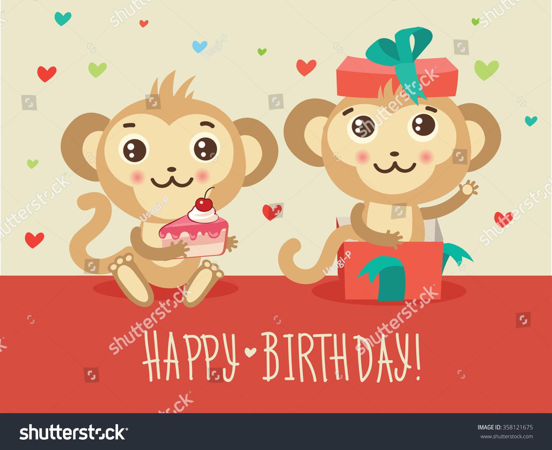 Happy Birthday Card Two Funny Monkey Vector 358121675 – Monkey Birthday Card
