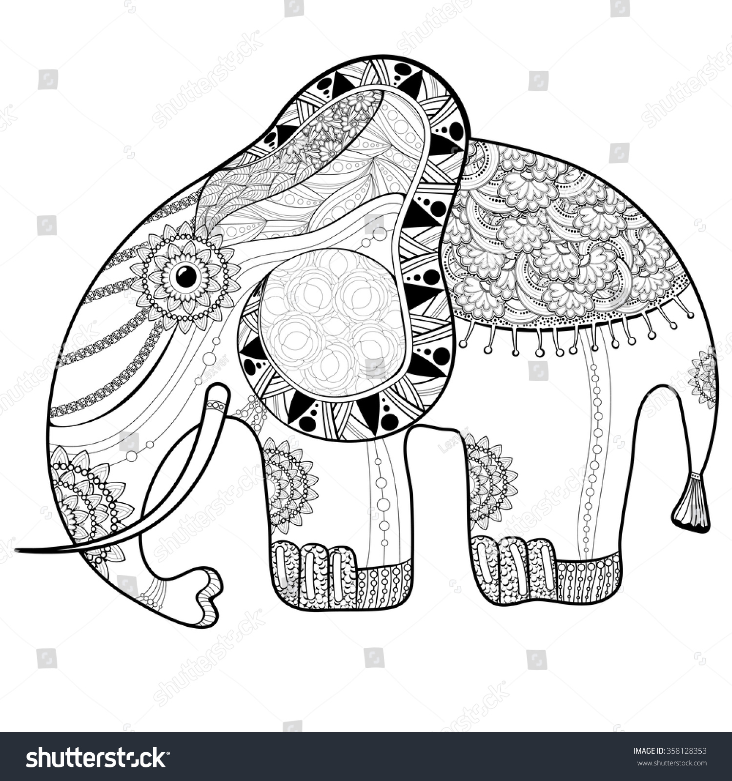 Coloring Book Page For Adults Elephant Ethnic Anti Stress Pattern Of Totem Animal In