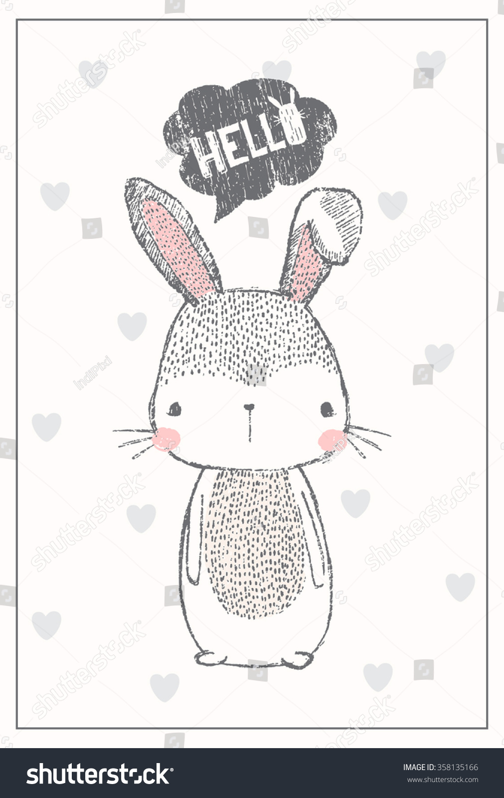 cute bunny illustration for apparel or other uses in vector