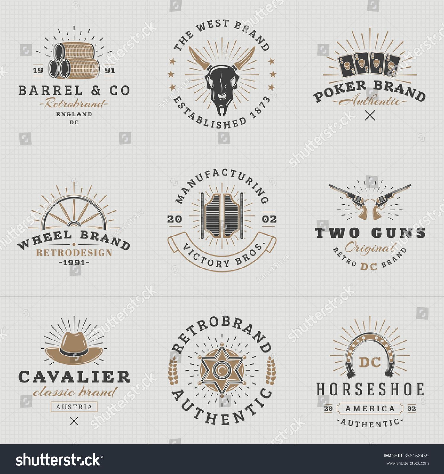 Set hipster vintage labels logotypes badges stock vector 358168469 set of hipster vintage labels logotypes badges for your business wild west theme magicingreecefo Image collections
