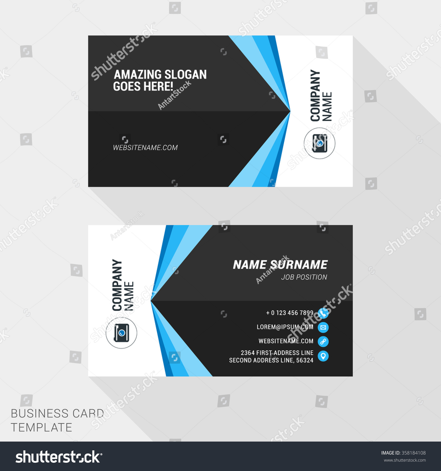 creative business card print template flat stock vector