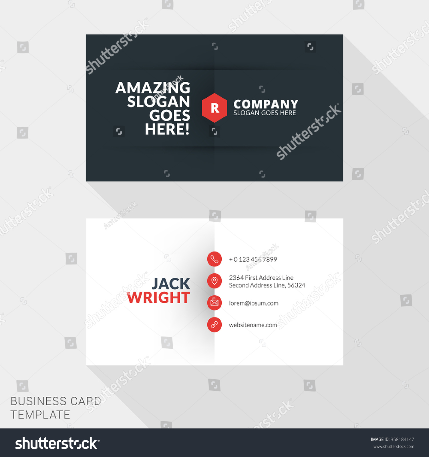 Creative Business Card Print Template Flat Stock Vector (2018 ...