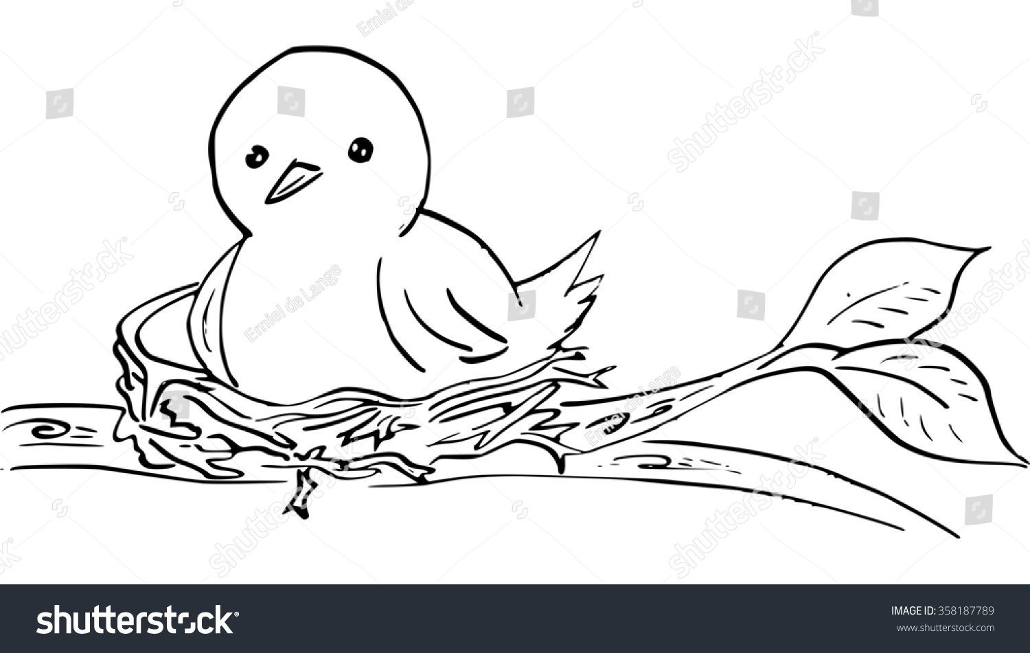 Ink Drawing Of Bird In Nest Stock Photo 358187789