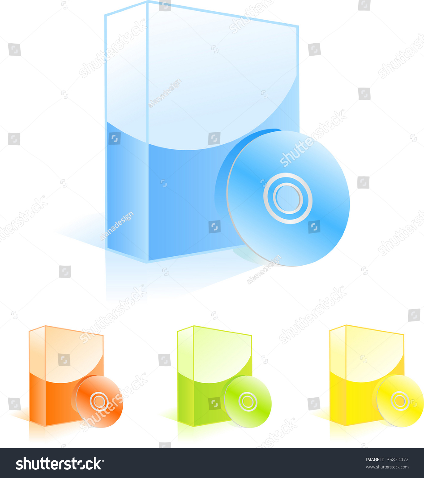 Multicolored software boxes with cd disks vector Vector image software