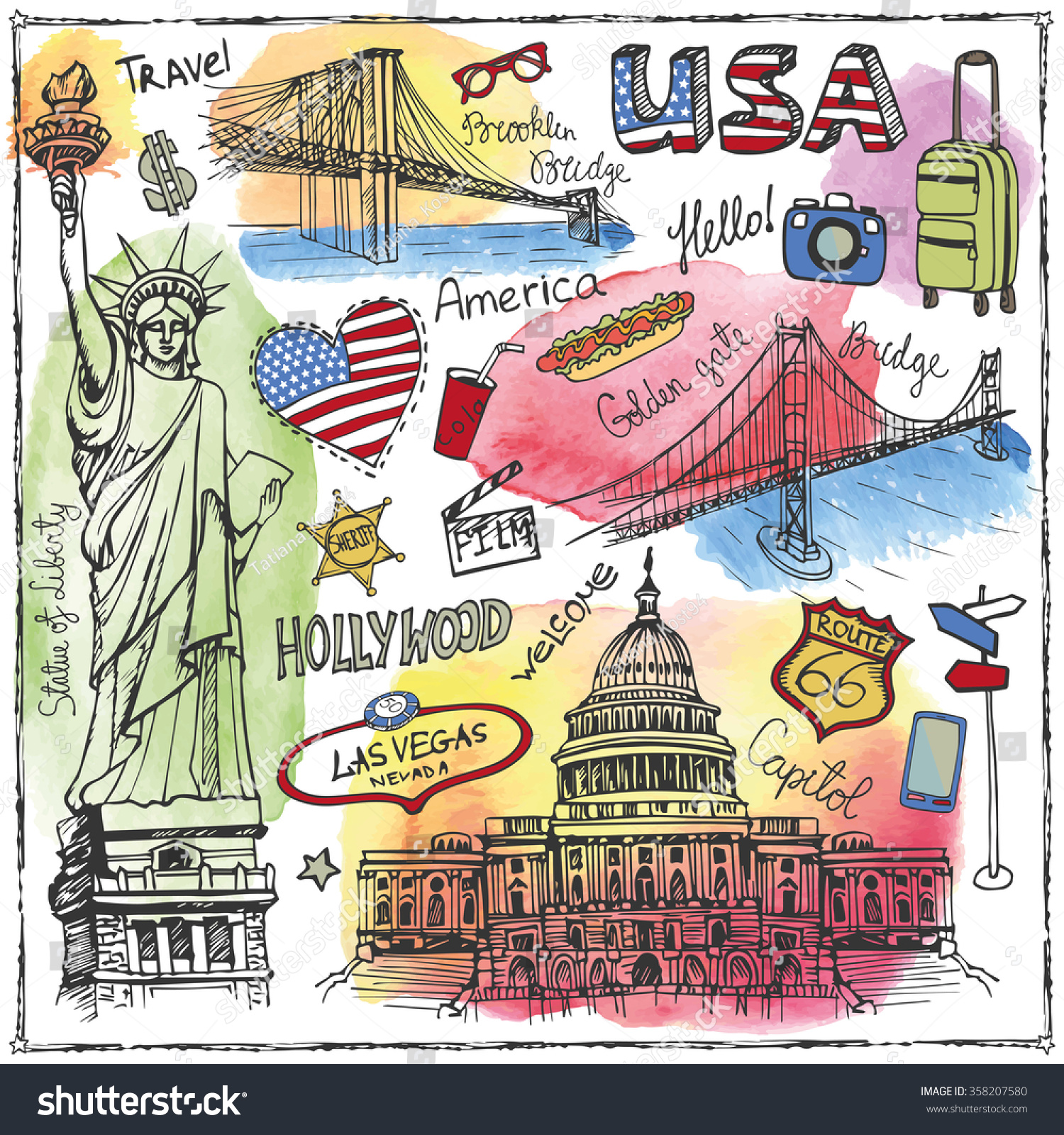 Royalty free new york doodle seterican travel 358207580 stock new york doodle seterican travel symbols in hand drawn sketchwatercolor splashes buycottarizona Image collections