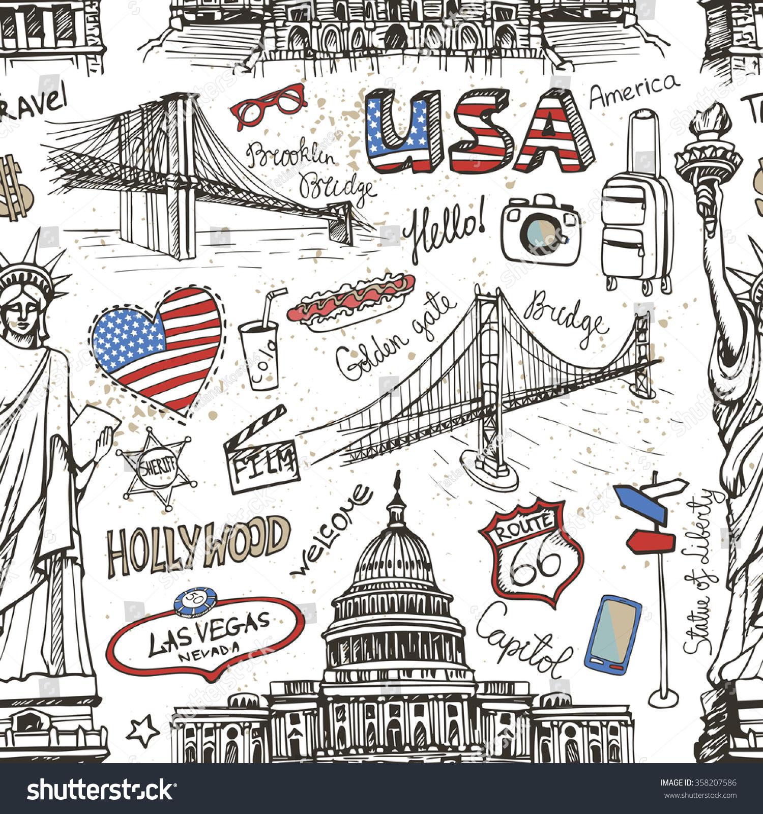 New York Doodle Seamless Patternusaamerican Travel Stock
