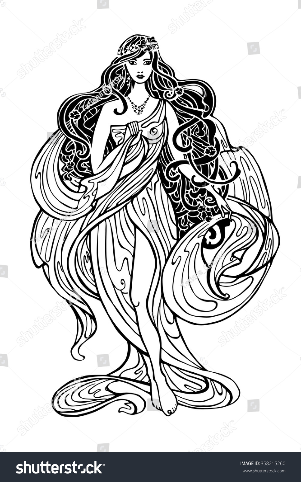 Art Nouveau Styled Woman Long Flowing Stock Vector
