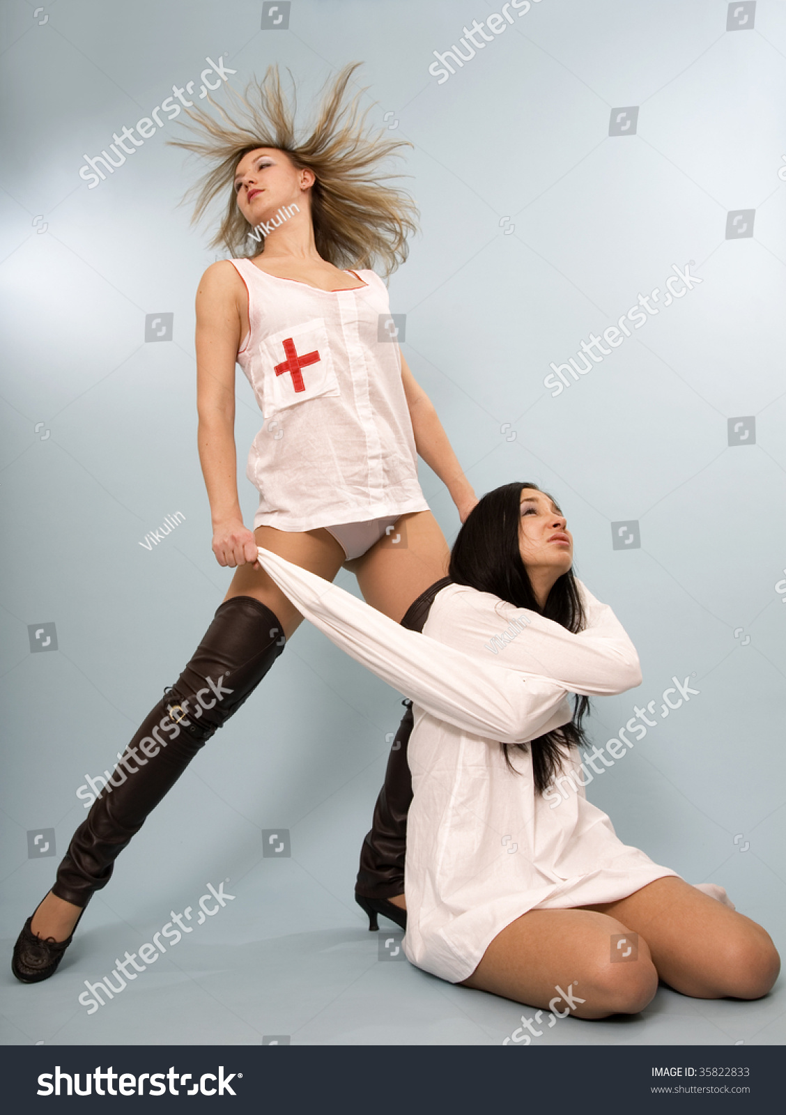 Girl Red Cross On Suit Pulls Stock Photo 35822833 - Shutterstock