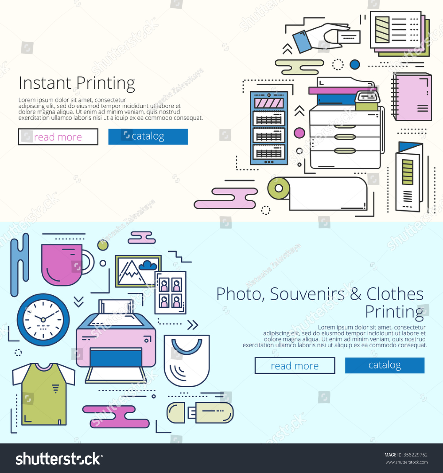 bright web templates set for print shop site linear concept save to a lightbox