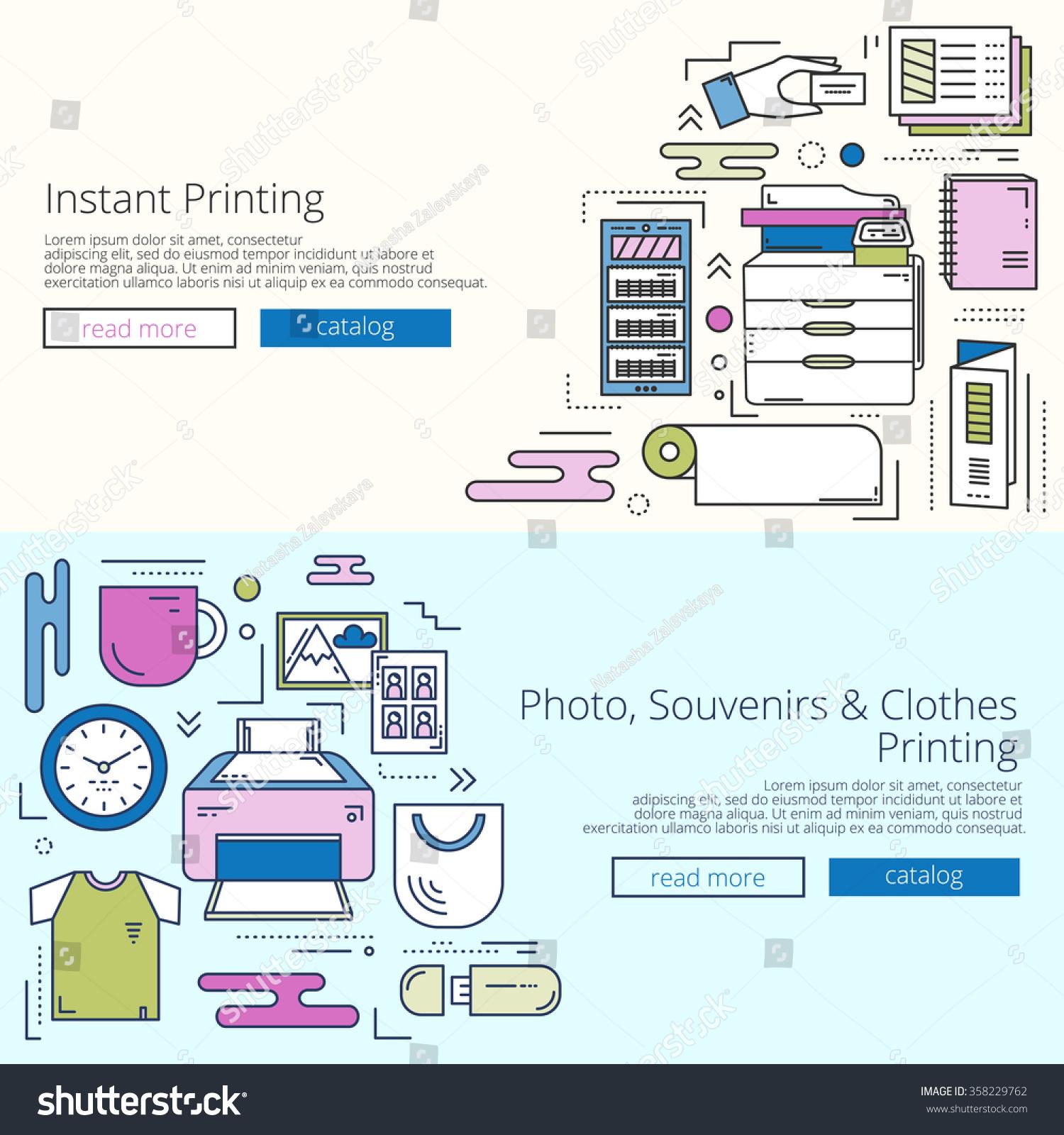 bright web templates set for print shop site linear concept