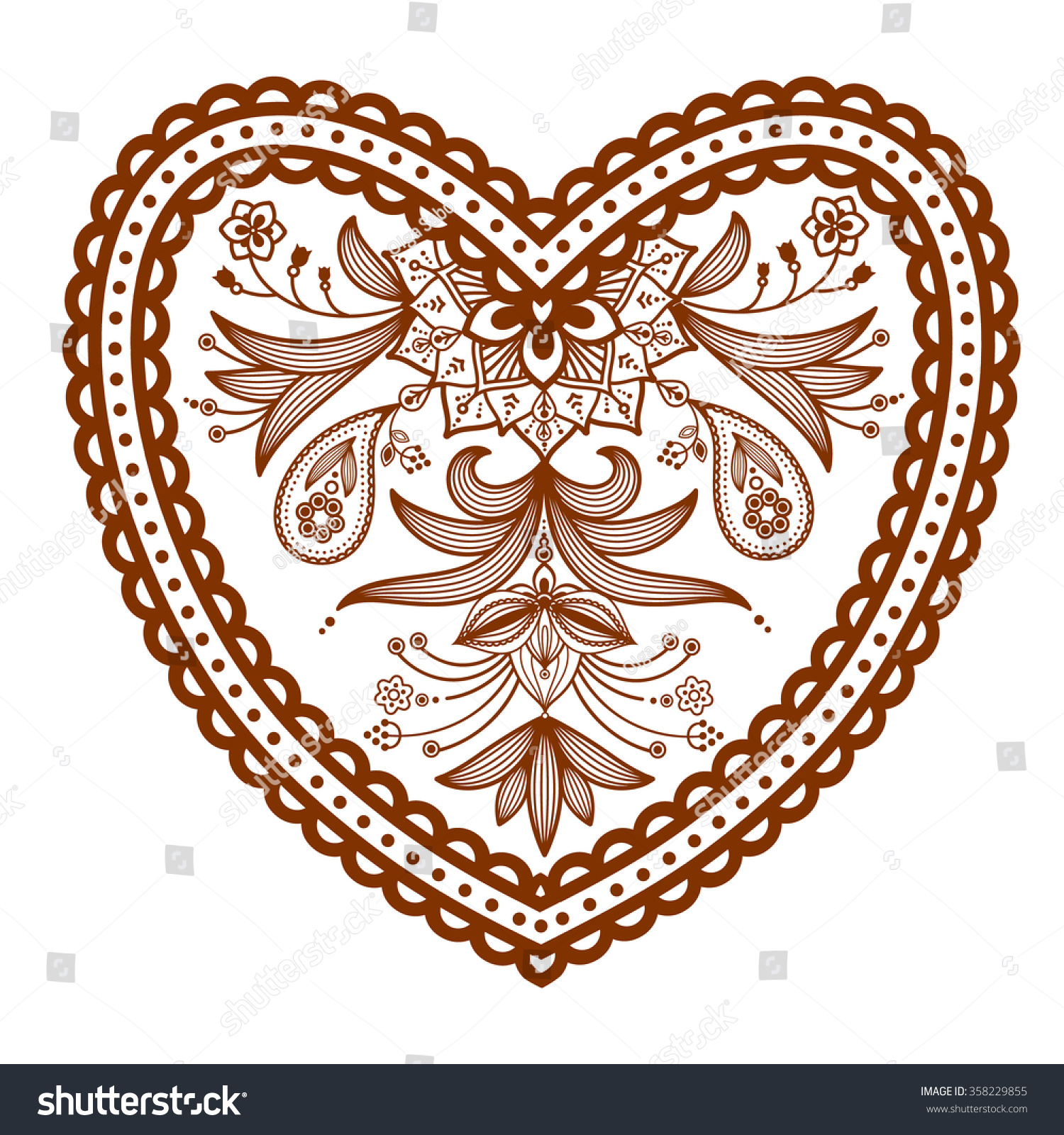 Heart Henna Tattoos: Decorated Heart Henna Tattoo Mehndi Style Heart Stock