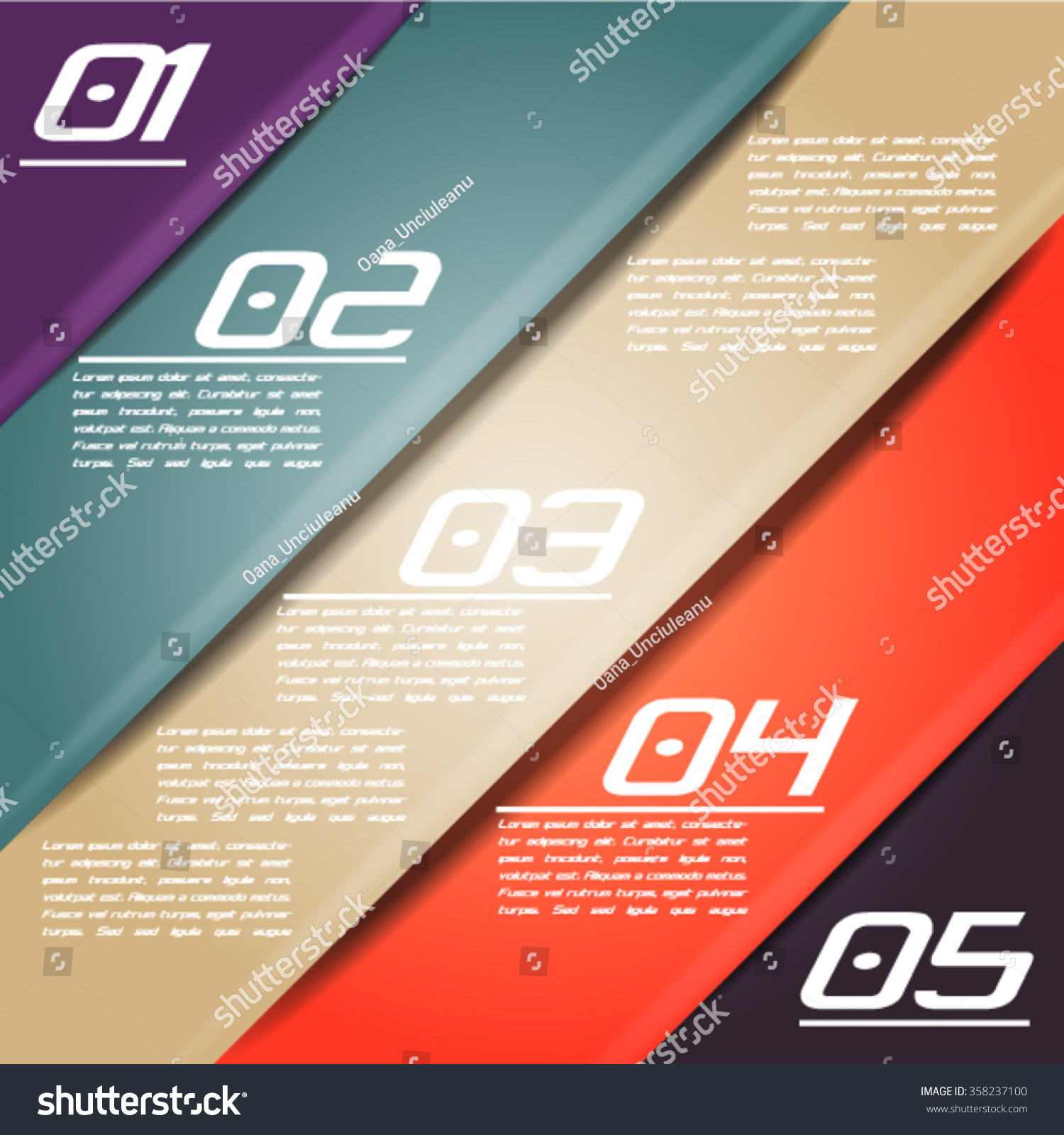 Colorful Infographics Template 5 Diagonal Stripes Stock Vector HD ...