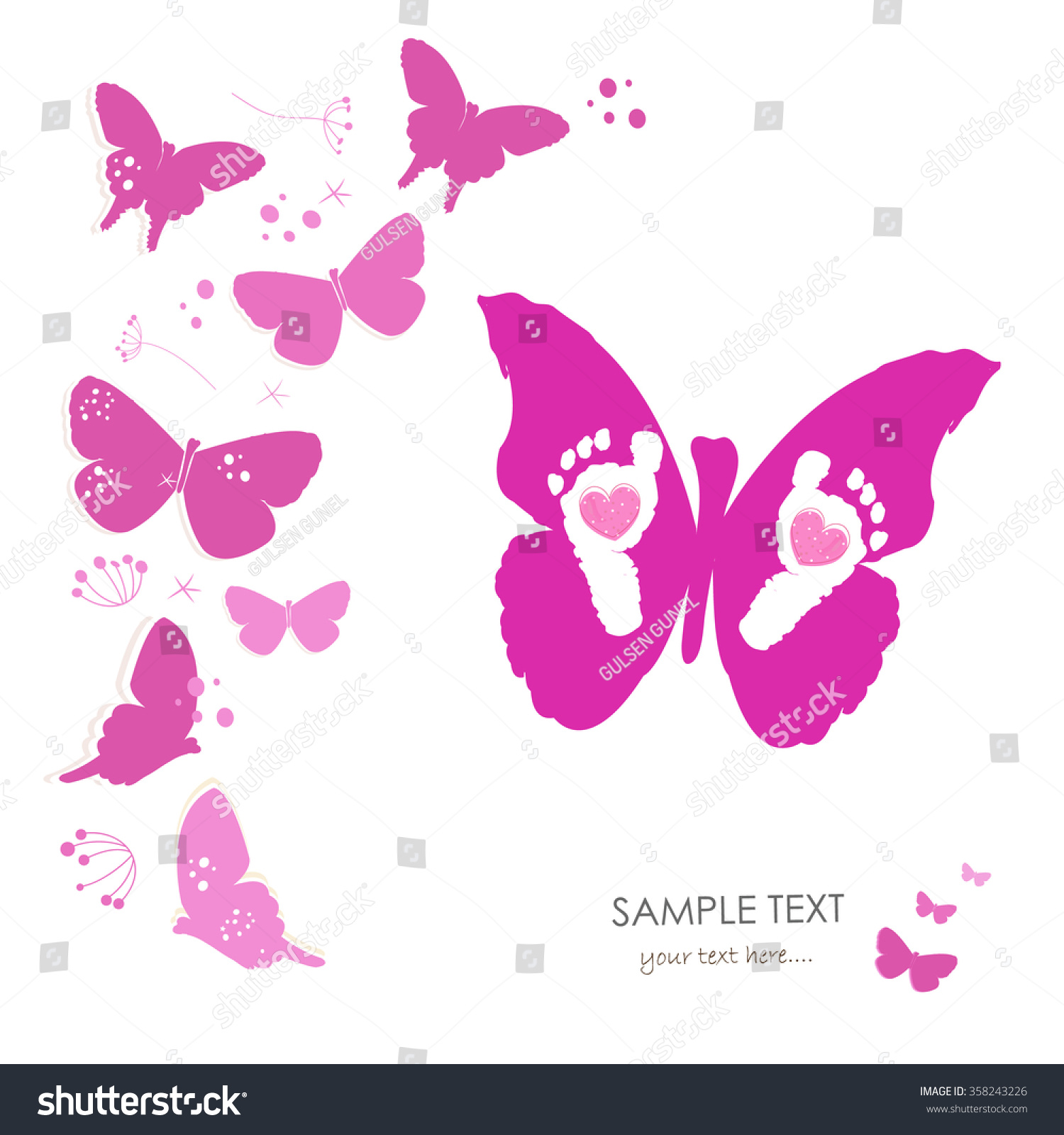 baby foot prints butterfly newborn baby stock vector 358243226