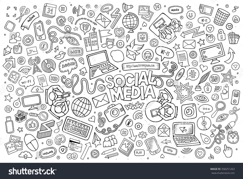Line Art Doodles : Vector line art doodle cartoon set stock