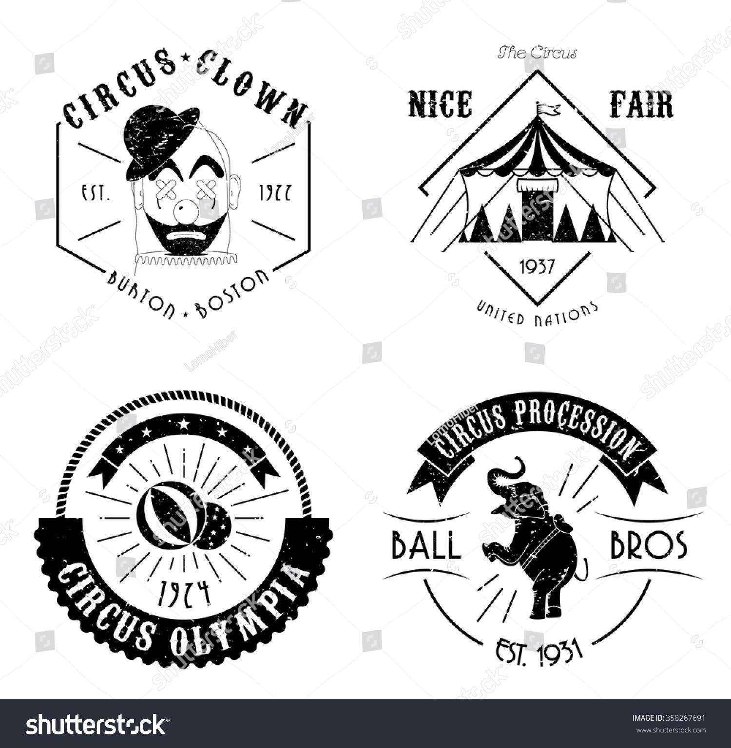 vector vintage circus logos set stock vector 358267691