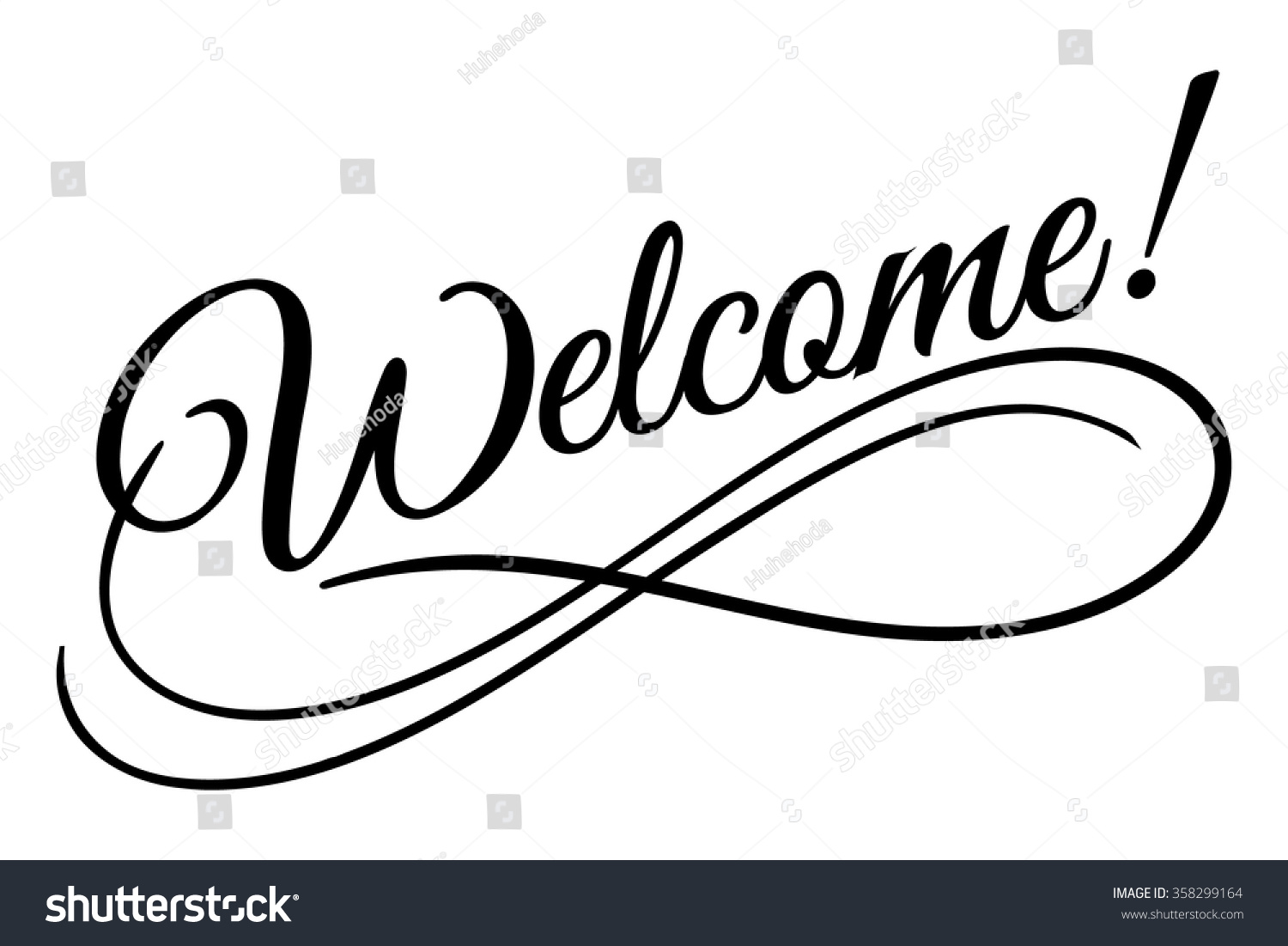 Welcome Sign Vector Illustration Beautiful Lettering Stock