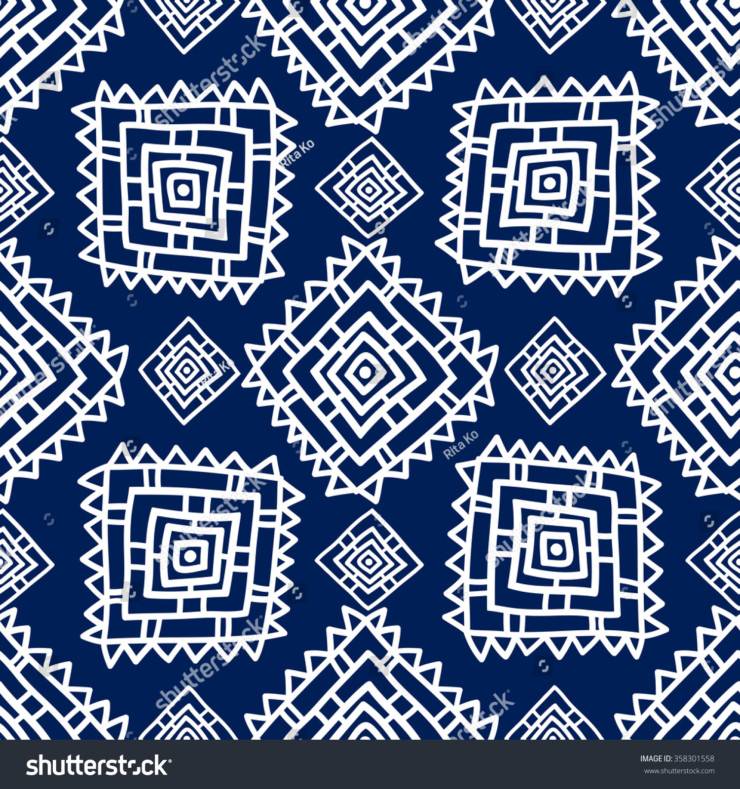 Geometric Seamless Pattern Ethnic Style Blue Stock Vector