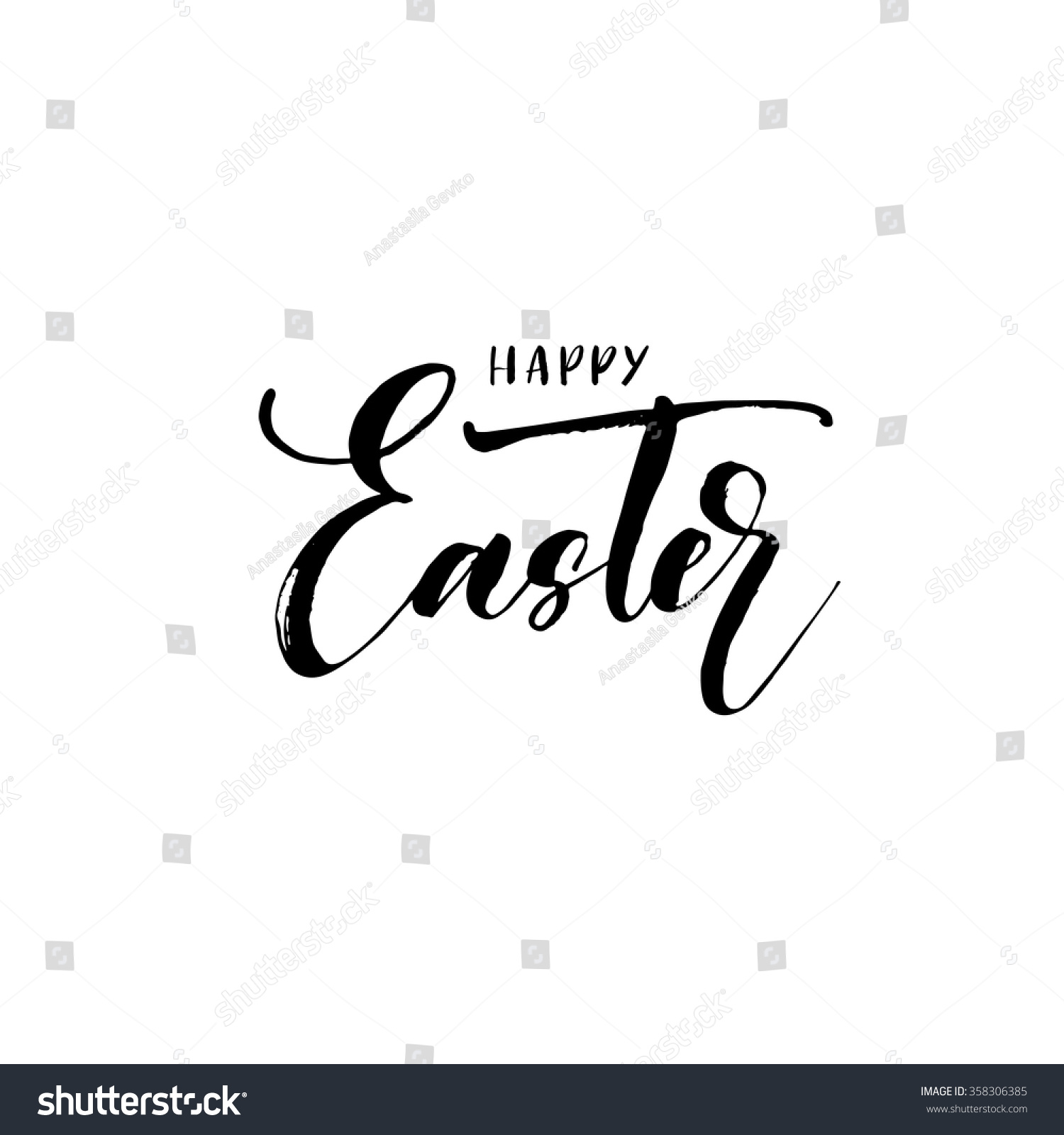Happy easter lettering card hand drawn poster