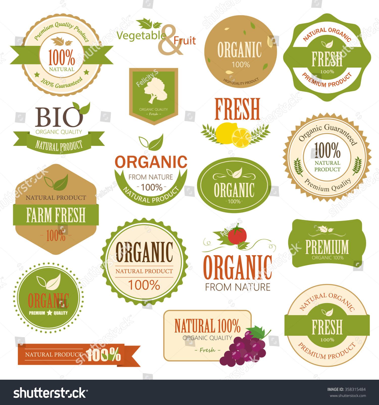 Set Fresh Organic Label Element Nature Stock Vector