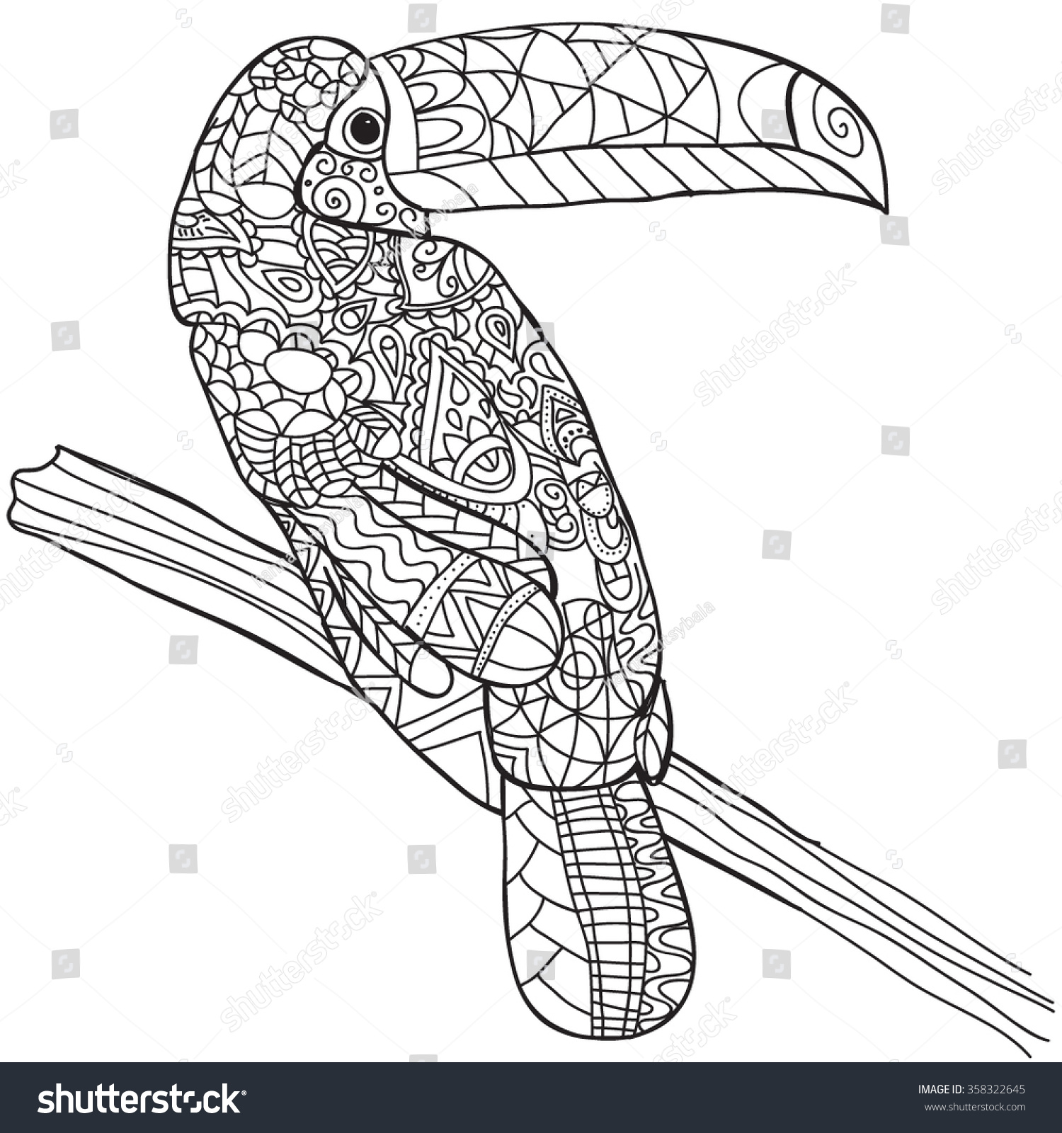 Hand Drawn Bird Toucan Isolated On Transparent Background Anti Stress Coloring Page Vector Monochrome