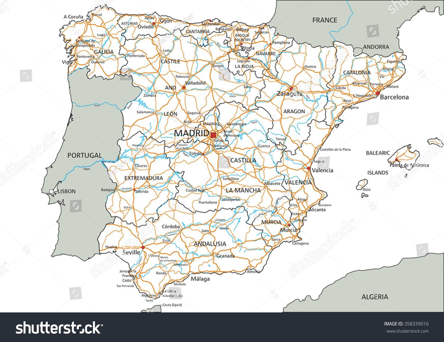 Labeled Map Of Spain.High Detailed Spain Road Map Labeling Stock Vector Royalty Free